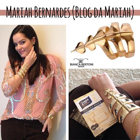 Blogueira Mariah Bernardes usando bracelete esqueleto Bianca Bertoni